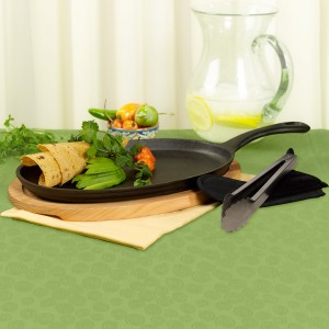 TTU-J7184-EC-4 Piece Pre-seasoned Cast Iron Fajita Pan Set With Wood Base by Casa Maria