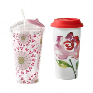 KD-­T6250-­EC-16 ounce Hot 'n' Cold Double Wall Travel Mug Set by Kathy Davis