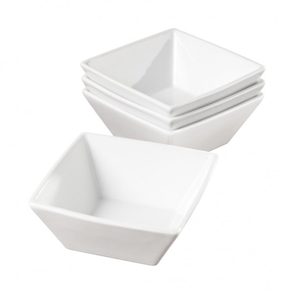 Set Of Four 6 Inch Square Porcelain Cereal Bowls By