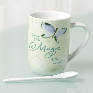 KD-T6656-EC-2 Piece 16 ounce Porcelain Mug and Spoon Set by Kathy Davis