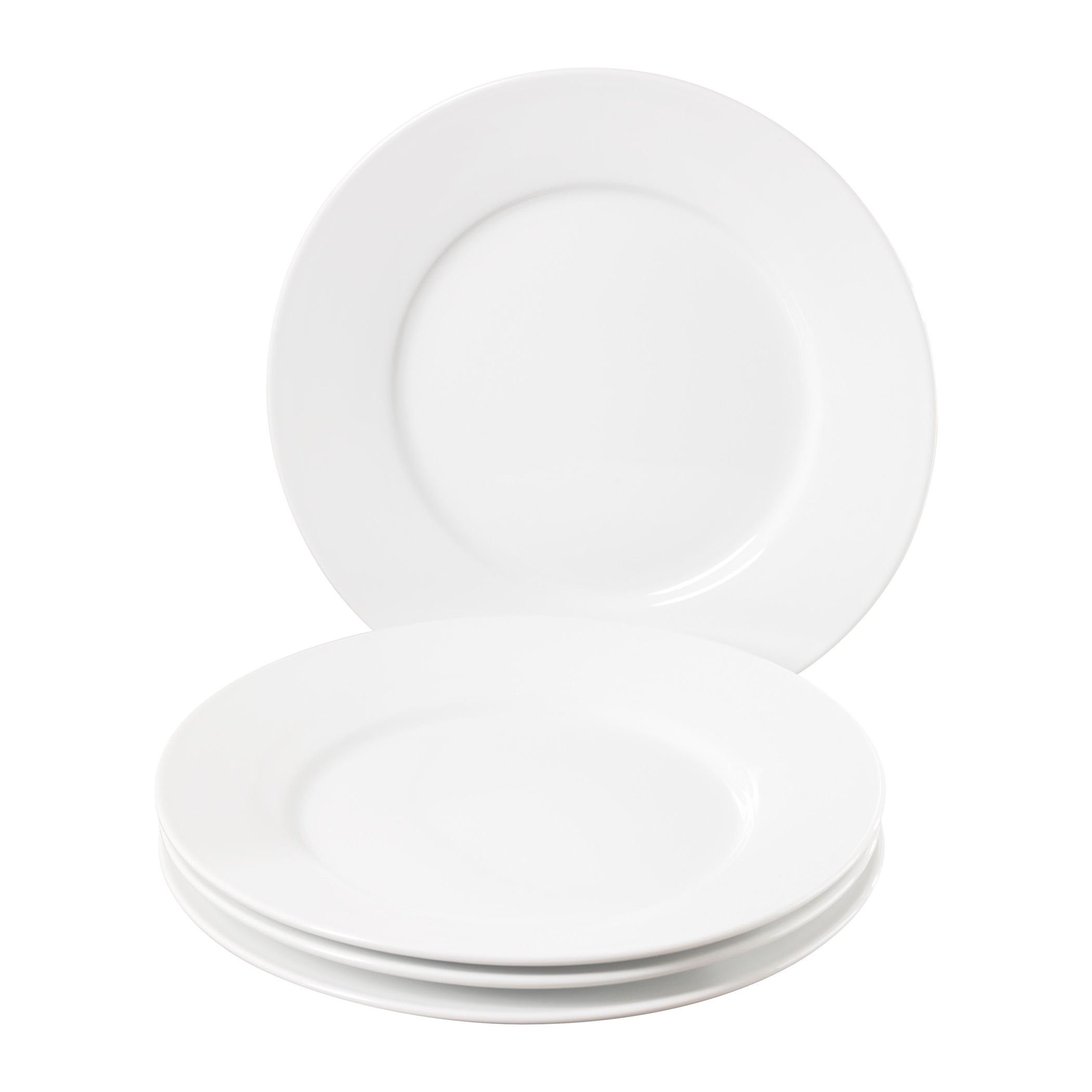 set of four  inch round porcelain salad plates by denmark tools  - ttuqecset of four  inch porcelain salad plates by denmark