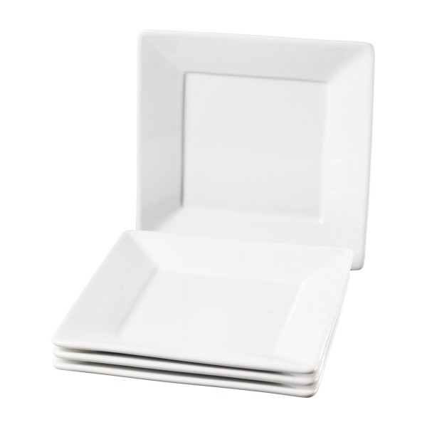 Set Of Four 8 5 Inch Square Porcelain Salad Plates By