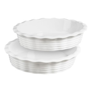 TTU-Q1526-EC Set of Two 9 x 2 Inch Porcelain Pie Pans by Denmark Tools For Cooks