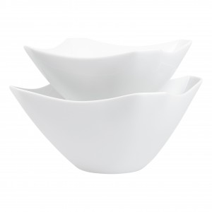 TTU-T1312-EC-Oven to Table Set of Two Vitrified Porcelain Square Serving Bowls by Denmark Tools For Cooks