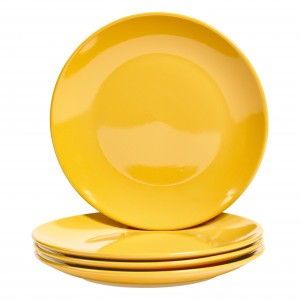 TTU-T6951-EC-Set of Four 10.75 inch High-fired Stoneware Dinner Plates by Basic Essentials
