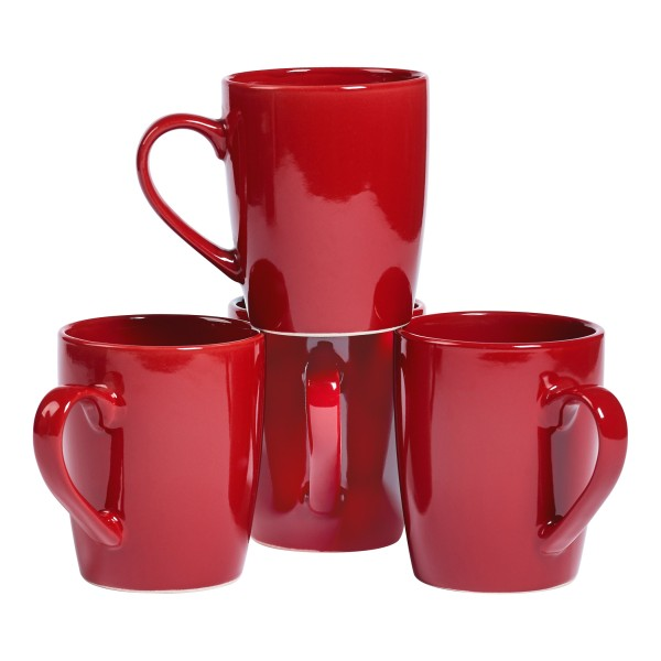 TTU-T6904-EC-Set of Four 14 Ounce High-fired Stoneware Mugs by Basic Essentials