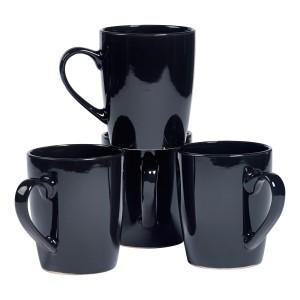 TTU-T6964-EC-Set of Four 14 Ounce High-fired Stoneware Mugs by Basic Essentials
