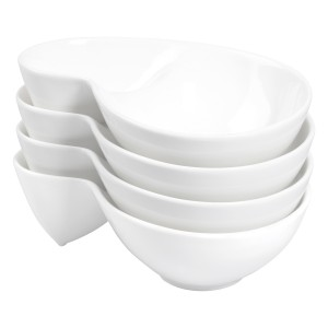 TTU-T1323-EC-Oven to Table Set of Four Vitrified Porcelain Chip Œn¹ Dip Bowls by Denmark Tools For Cooks