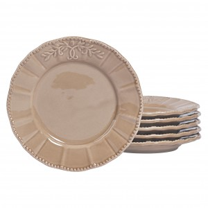 TTU-U1932-EC-Set of Six 8 Inch Stoneware Salad Plates by Tabletops Gallery