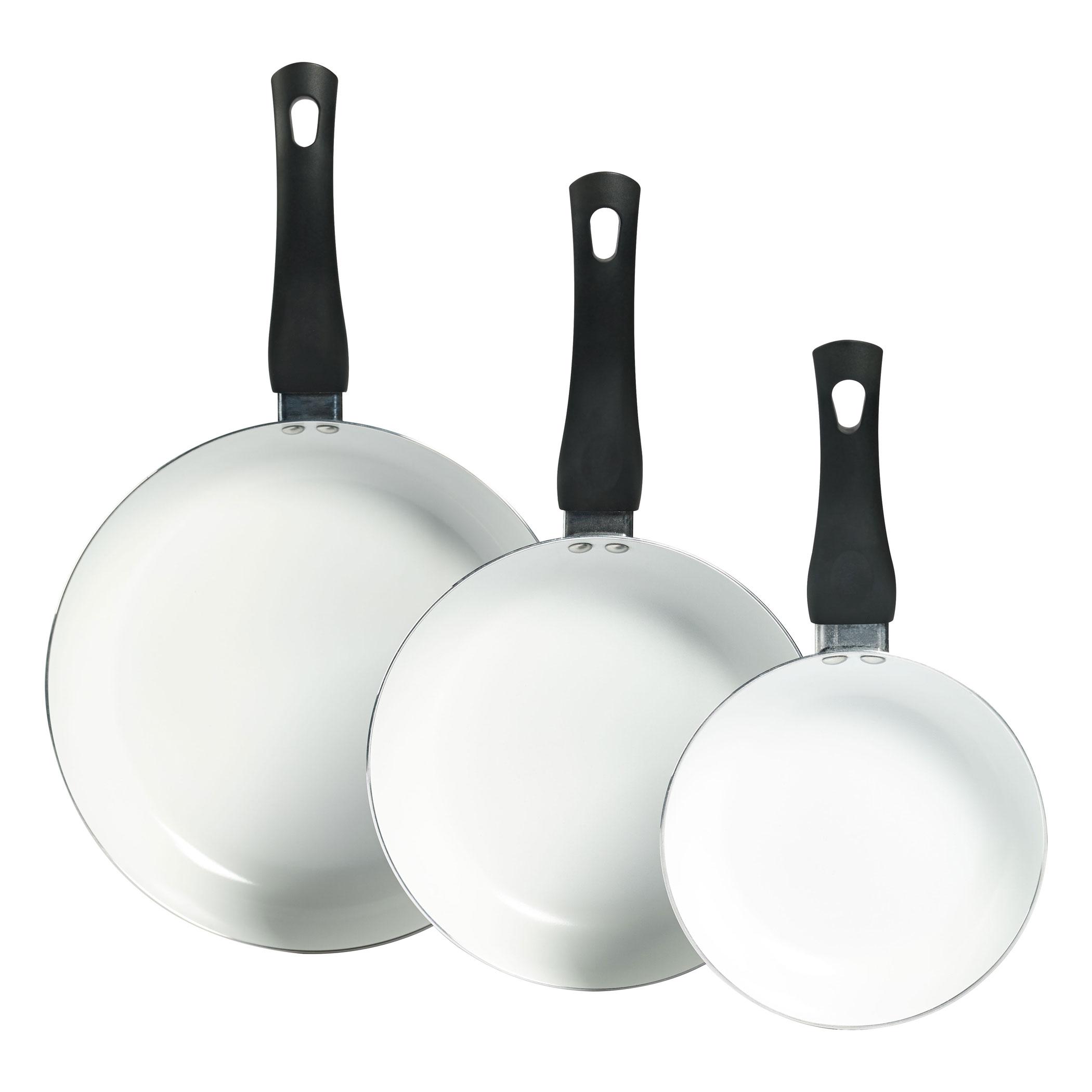 Set Of 3 Ceramic Non Stick Aluminum Fry Pans By Basic