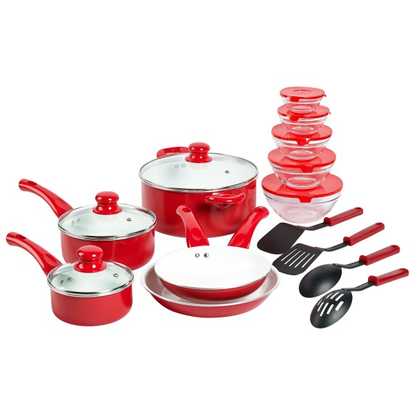 TTU-T1497-EC-17 piece Ceramic Non-Stick Aluminum Cookware Set by Basic Essentials
