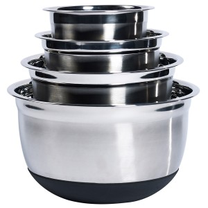TTU-Q4782-EC Set of 4 Stainless Steel Nesting Mixing Bowls with Silicone Base by Denmark Tools For Cooks®