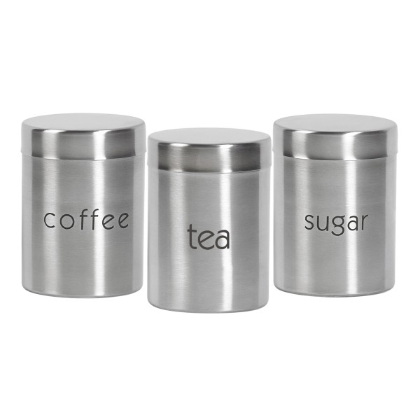 TTU-Q4766-EC Set of Three 29 ounce Stainless Steel Canisters by Basic Essentials®