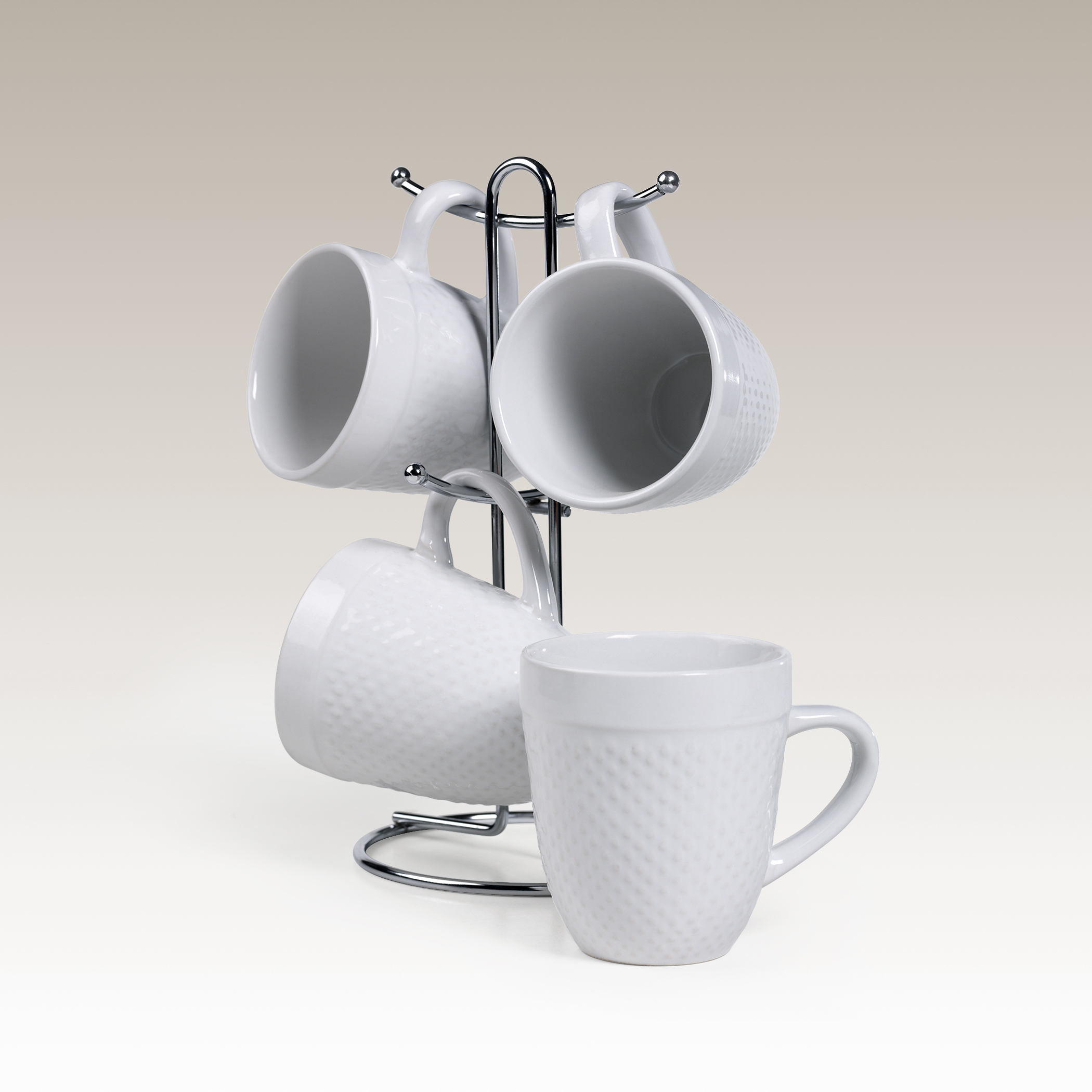 5-Piece Stoneware Mug Tree Set