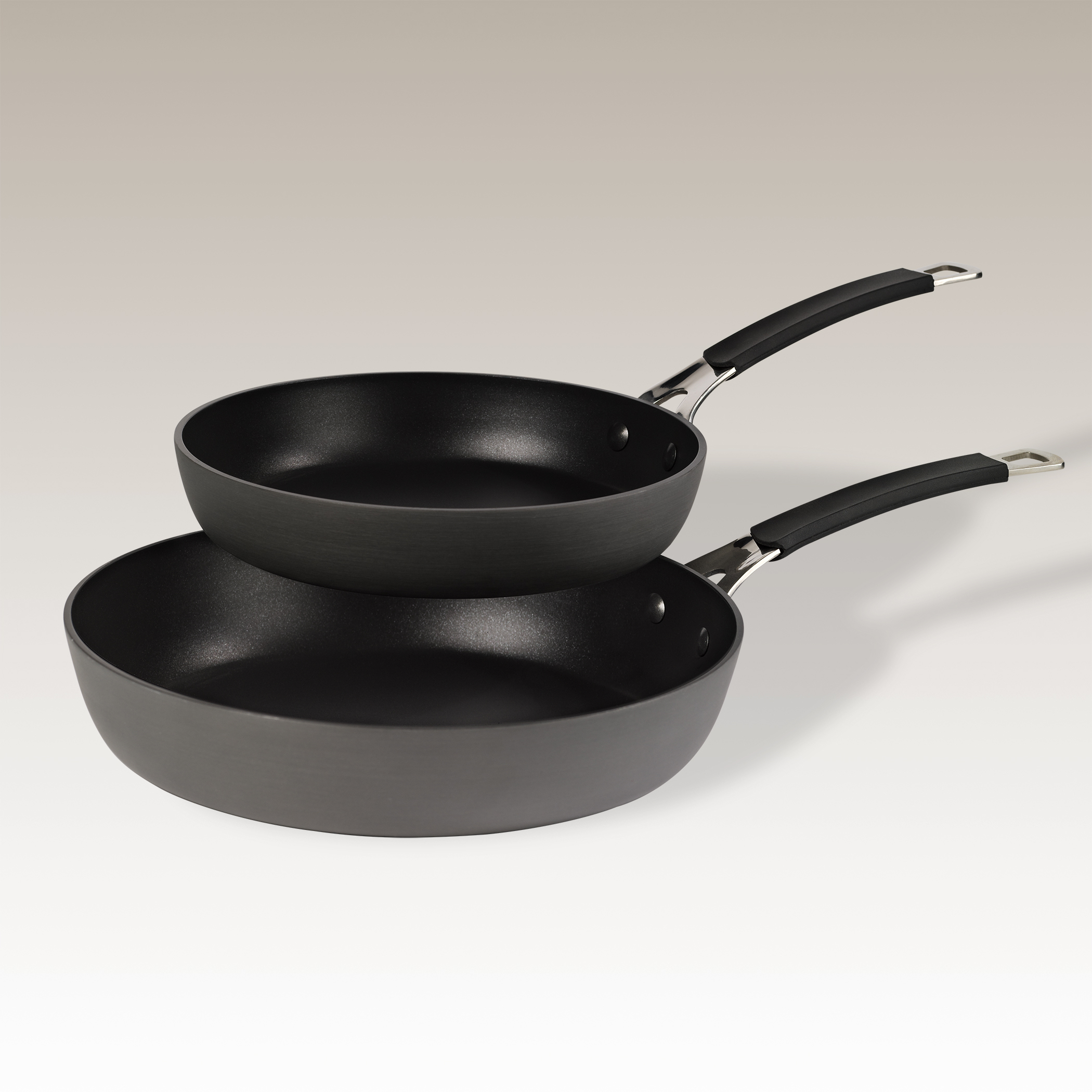 Set of two Non-stick Hard Anodized Aluminum Fry Pans by Stax Living by Stax Living