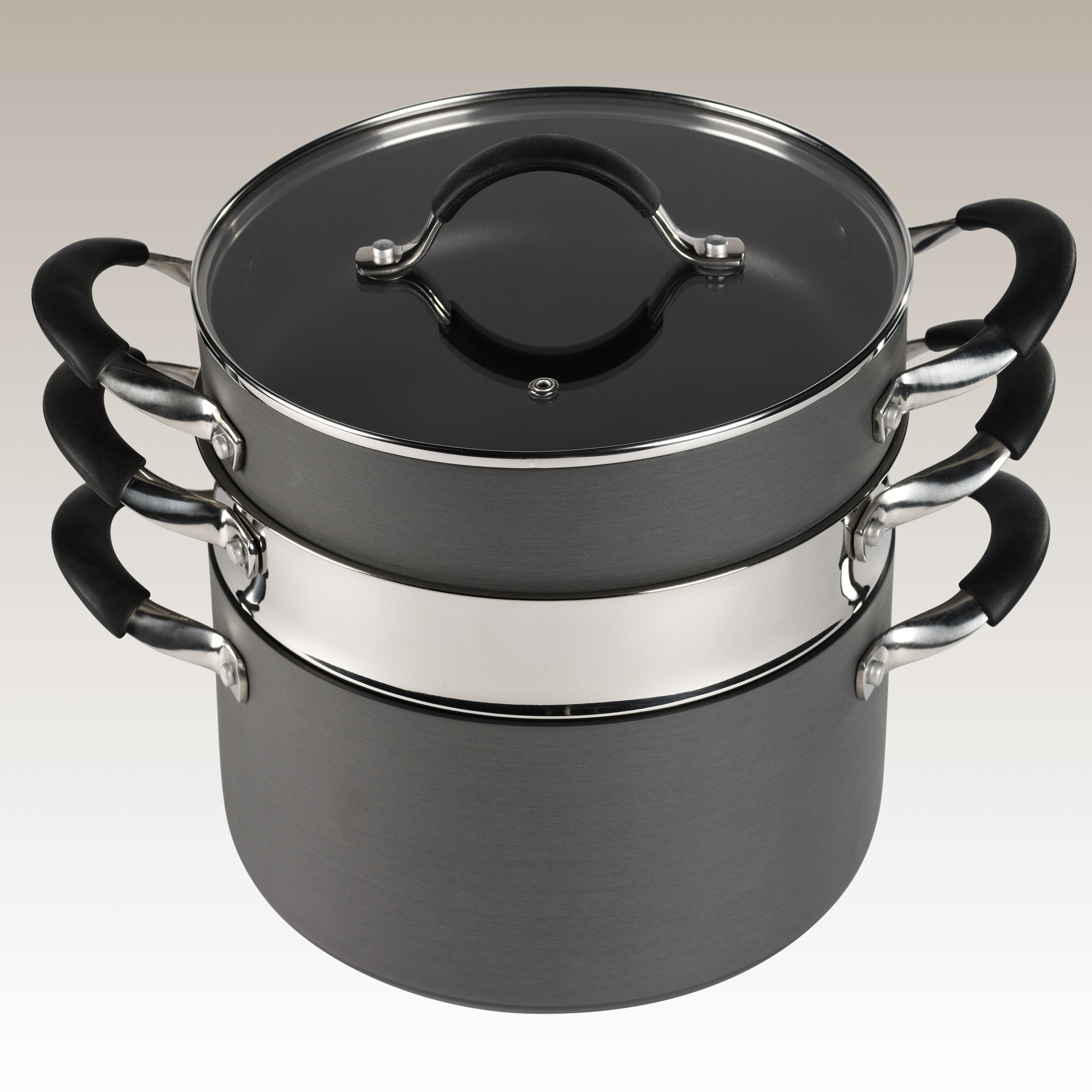 4 Piece Space Efficient Non-Stick Hard Anodized Multi-function Cooking System by Stax Living.