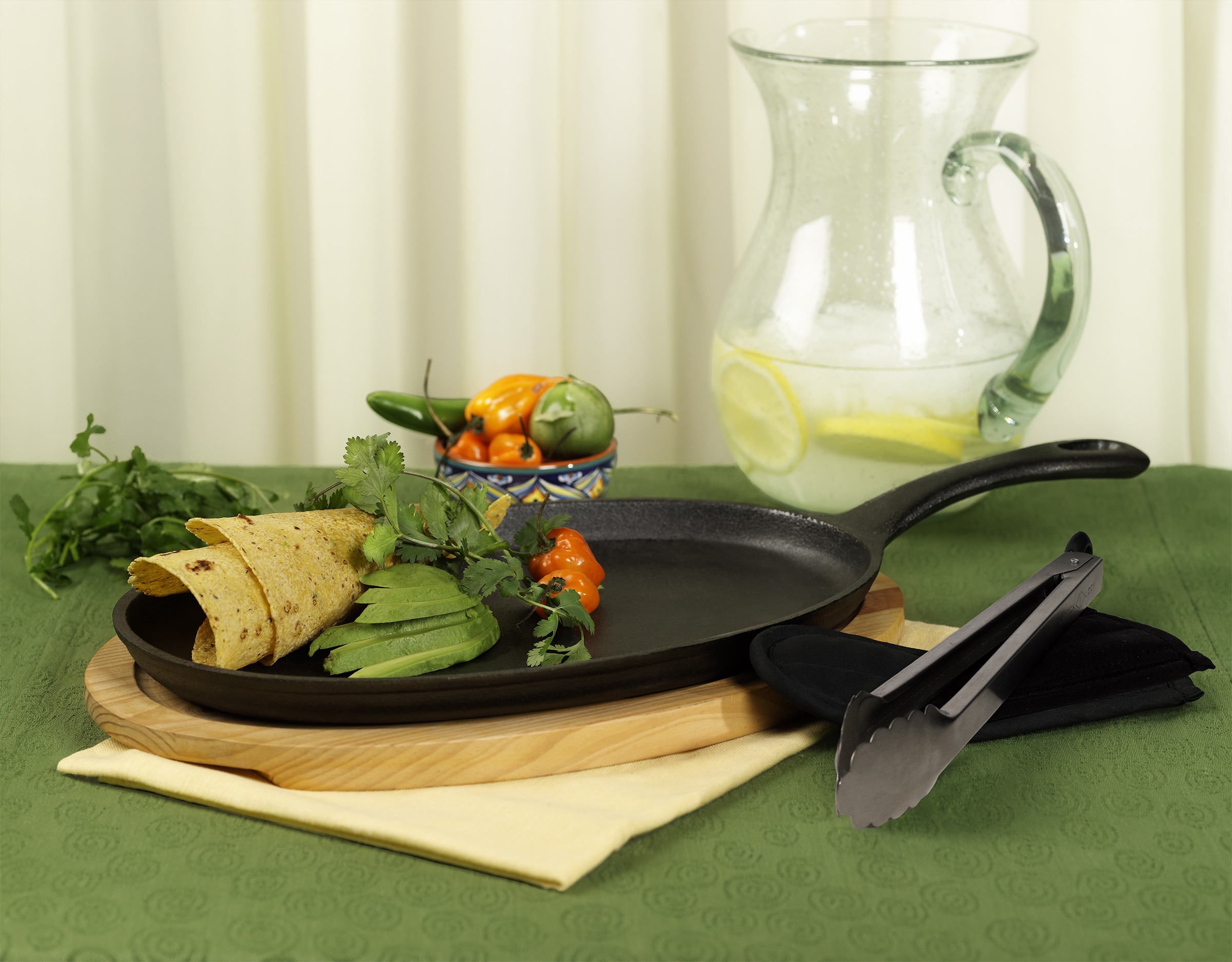 4 Piece Pre-seasoned Cast Iron Fajita Pan Set With Wood Base by Casa Maria