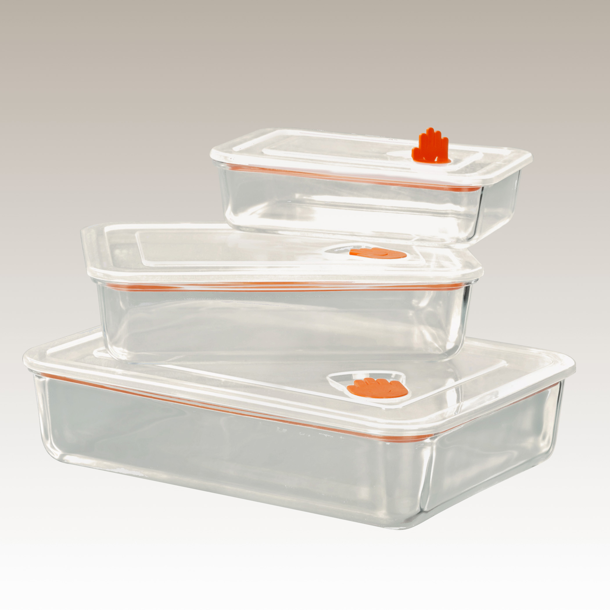 3 Piece Tempered Glass Storage Set by STAX LIVING