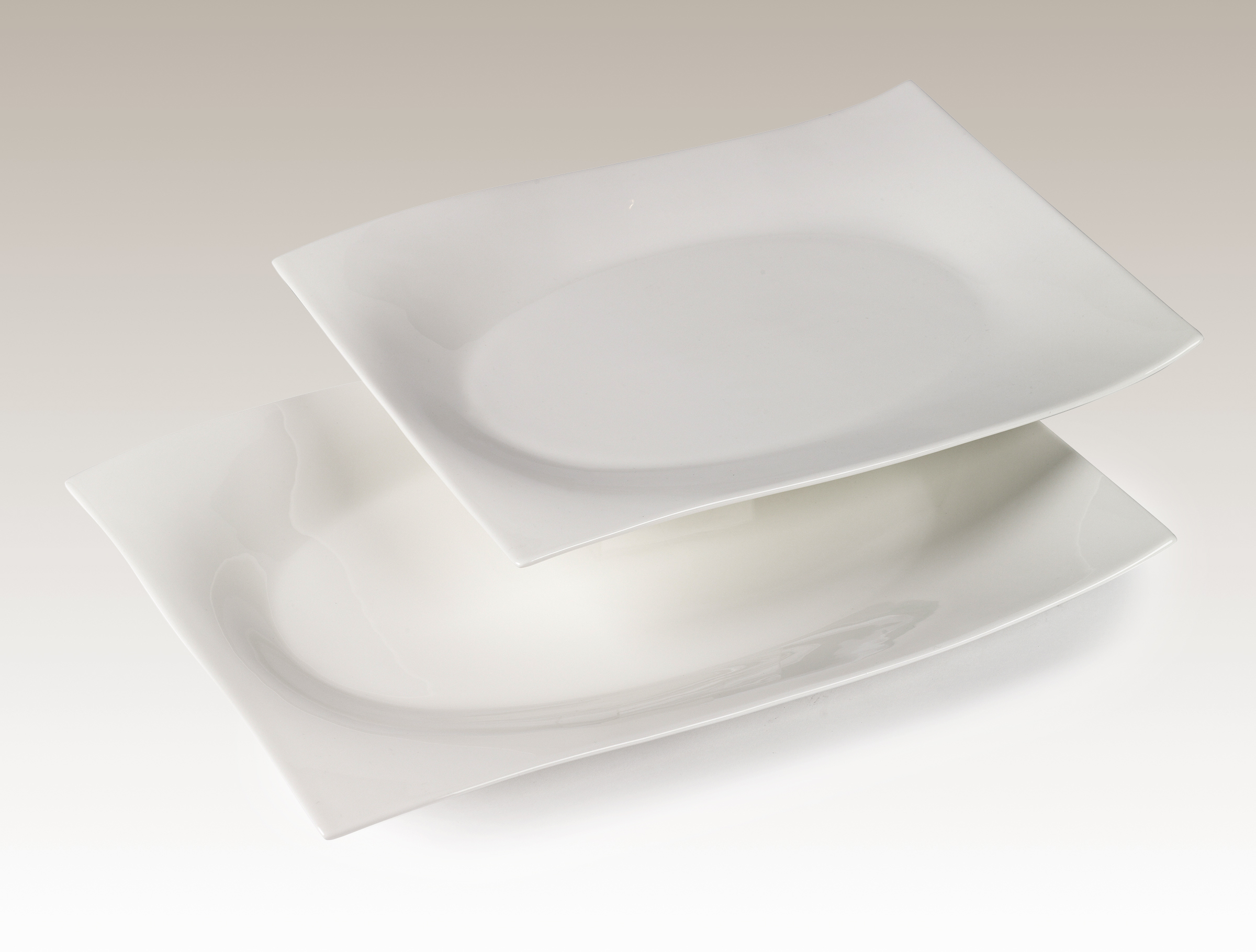Set of Two 16 Inch Recycled Porcelain Serving Platters by Ecoware